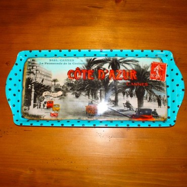 "French serving Tray ""Cote d'Azur - Cannes"" - 15"" x 6 1/2"""