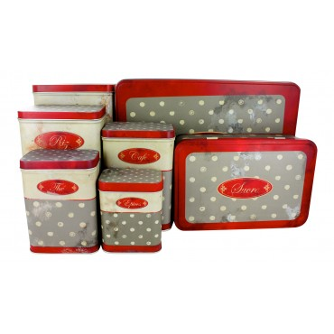 "French set of 7 Tin Boxes ""Polka Dot"""