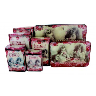 "French set of 7 Tin Boxes ""Thé à la rose"""
