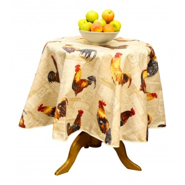 "French Tablecloth - ""Rooster"" - Beige - Round 63"" - 100% coated cotton - Made in France -"