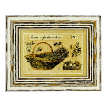 "French vintage Framed postcard from painting  ""Panier et olivier"""