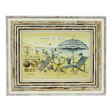 "French vintage Framed postcard from painting  ""Sports et jeux"""