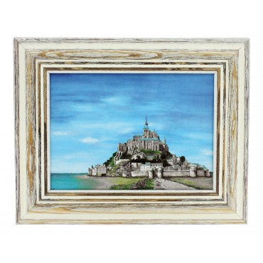 "French vintage Framed postcard from painting  ""Mont Saint Michel"""