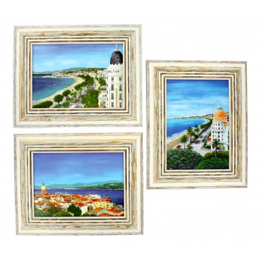 "French  Framed postcards from painting  ""French Riviera"" - set of 3 -"