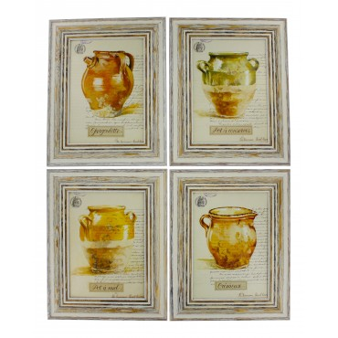"French  Vintage Framed postcards from painting  ""Provence Pots"" - set of 4 -"