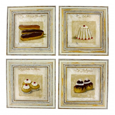 "French  Vintage Framed postcards from painting  ""Patisseries"" - set of 4 -"