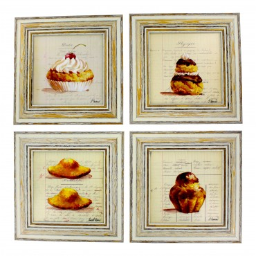"French  Vintage Framed postcards from painting  ""Gateaux "" - set of 4 -"