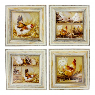 "French  Vintage Framed postcards from painting  ""Hens and cocks"" - set of 4 -"