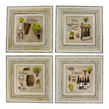 "French  Vintage Framed postcards from painting  "" Wine"" - set of 4"
