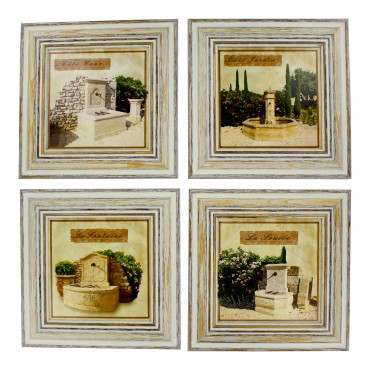 "French  Vintage Framed postcards from painting  "" Stone fountain"" - set of 4"