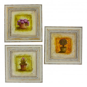 "French  Vintage Framed postcards from painting  ""Fleurs en pot"" - set of 3 -"