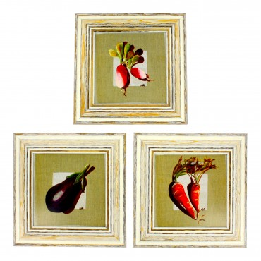 "French  Vintage Framed postcards from painting  ""Veggies"" - set of 3 -"