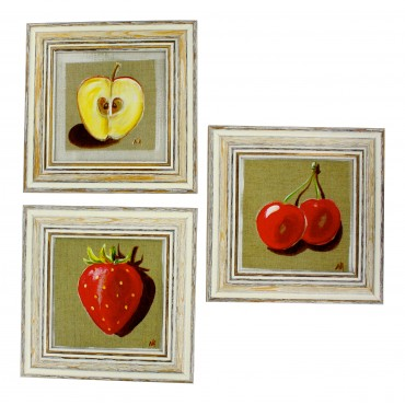 "French  Vintage Framed postcards from painting  ""Fruits"" - set of 3 -"