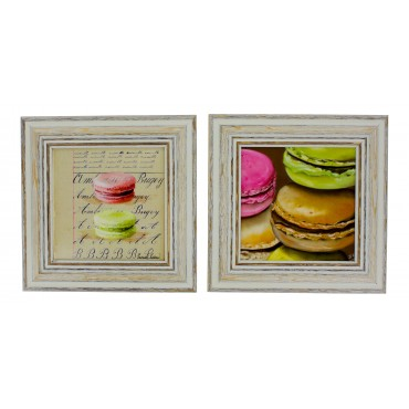 "French  Vintage Framed postcards from painting  ""Macaroons"" - set of 2 -"