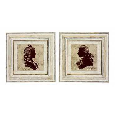 "French  Vintage Framed postcards from painting  ""Marquis and Courtisane"" - set of 2 -"
