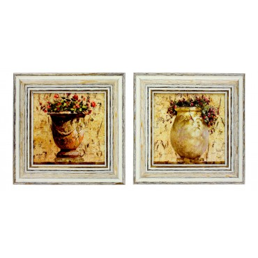 "French  Vintage Framed postcards from painting  ""Provence terracotta jars"" - set of 2 -"