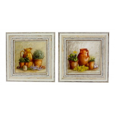 "French  Vintage Framed postcards from painting  ""Provence terracotta Pitcher and Pots"" - set of 2 -"