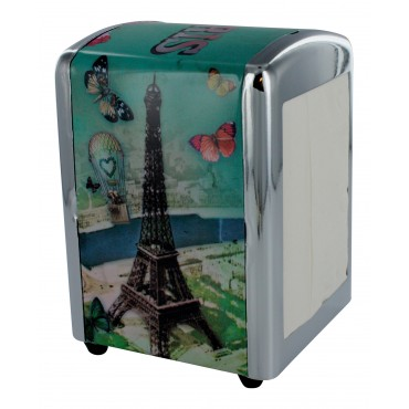 "French Napkins dispenser ""Paris balloon"" + 1 refill of 100 Napkins"