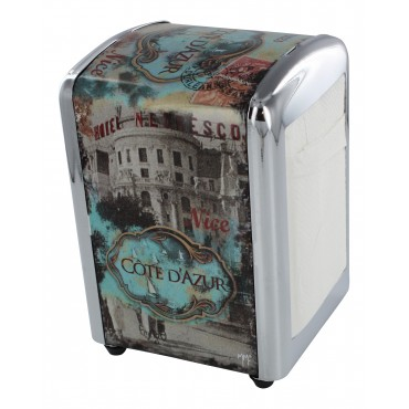 "French Napkins dispenser ""Cote d'Azur"" + 1 refill of 100 Napkins"