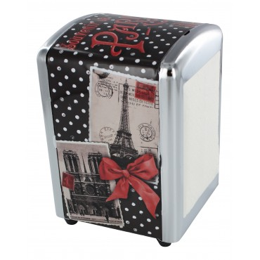 "French Napkins dispenser ""Souvenir de Paris"" + 1 refill of 100 Napkins"