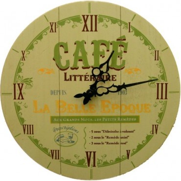 "French Wall Clock - Cafe La Belle Epoque - 14"" - Wood"