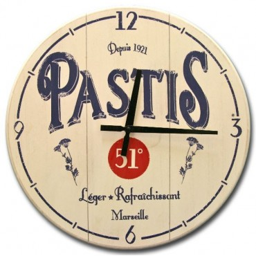 "French Wall Clock - Pastis 51 - 16"" - Wood"