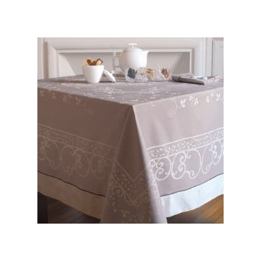 "French Jacquard Large Tablecloth +12 Napkins  - Garnier Thiebaut -  Pierre de Lune - 69"" x 120"""