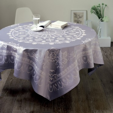 "French Jacquard Large Tablecloth +12 Napkins  - Garnier Thiebaut -  Grey Lavender - 69"" x 120"""