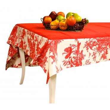 Red Toile rectangular Tablecloth