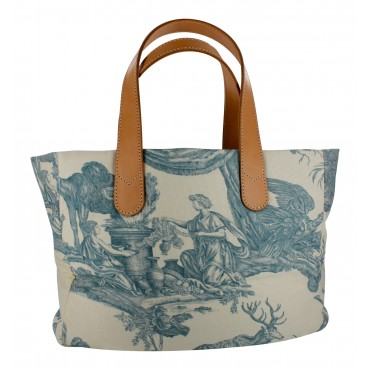 Blue Toile and leather city bag