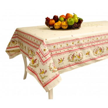 "Provence Tablecloth - Pink Moustiers -  Rectangular 98"" x 63"" - 100% cotton - Made in France -"