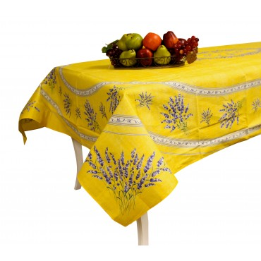 "Provence Tablecloth - ""Lavender Valensole"" - Yellow - Rectangular 98""x 63"" - 100% cotton - Made in France -"