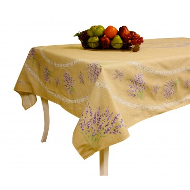 "Provence Tablecloth - ""Lavender Valensole"" - Natural - Rectangular 98""x 63"" - 100% cotton - Made in France -"