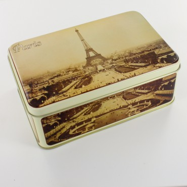 Tin box - rectangular - metal - Paris, Eiffel Tower