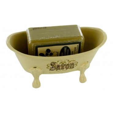 "French Vintage Soap Dish - old bathtub style - ""Savon"" - with a sandalwood scented Marseille  soap"
