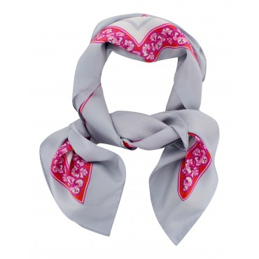"French Silk Scarf La Parisienne - square 35"" x 35"" - Pink"