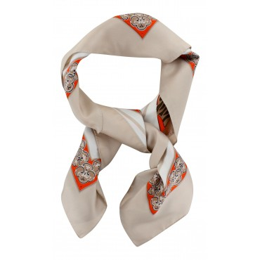 "French Silk Scarf La Parisienne - square 35"" x 35"" - Beige"