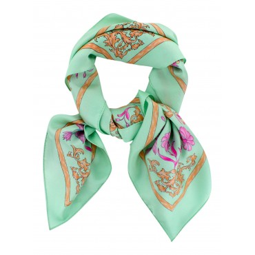 "French Silk Scarf Paris Romantic - square 35"" x 35"" - Pastel green -"