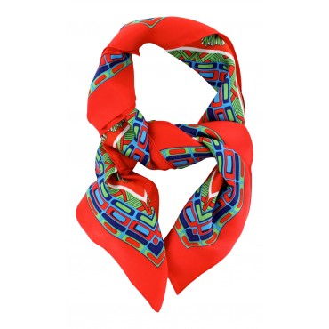 "French Silk Scarf - Paris Trendy - Poppy -  square - 35"" x 35"""