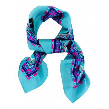 "French Silk Scarf - Paris Trendy - Turquoise - square - 35"" x 35"""