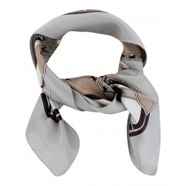 "French Silk Scarf Paris Elegant - square 26"" x 26"" - Grey"