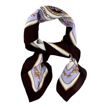 "French Silk Scarf - Nautical - Brown - square - 35"" x 35"""