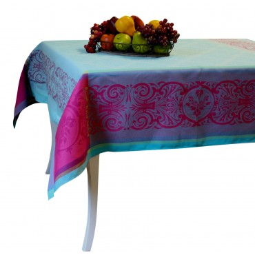 "Jacquard Tablecloth - Turquoise - Square -  63"" x 63"" - 100% cotton - Made in France -"
