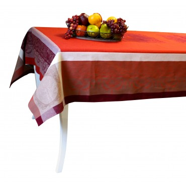 "Baroque Jacquard Tablecloth - Dark red - Rectangular 98"" x 63"" - 100% cotton - Made in France -"