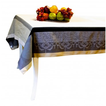 "Baroque Jacquard Tablecloth - Beige and Grey - Square 63"" x 63"" - 100% cotton - Made in France -"