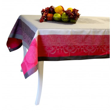 "Baroque Jacquard Tablecloth - Fuschia and Grey - Square 63"" x 63"" - 100% cotton - Made in France -"