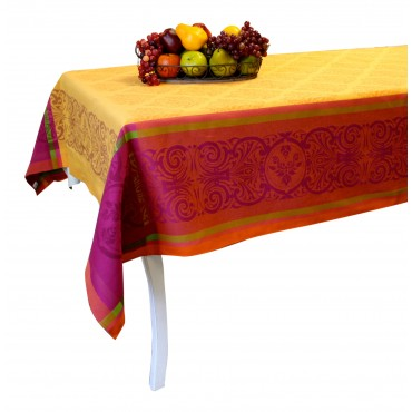 "Jacquard Tablecloth - Orange - Square 63"" x 63"" - 100% cotton - Made in France -"