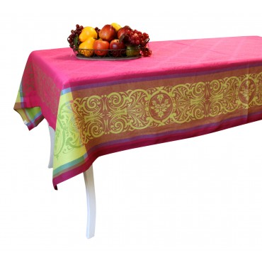 "Jacquard Tablecloth - Fuschia - Square 63"" x 63"" - 100% cotton - Made in France -"
