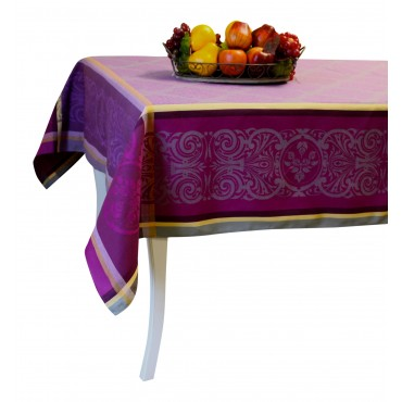 "Jacquard Tablecloth - Purple - Square 63"" x 63"" - 100% cotton - Made in France -"