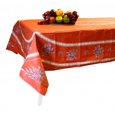 "French Tablecloth - ""Valensole"" - Terracotta -  98"" x 63"" - 100% coated cotton - Made in France -"